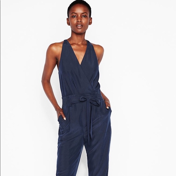 b2a4adc2928 Belted Navy Blue Surplice Romper